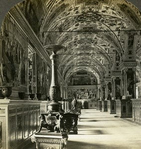 Italy Roma Vatican Library Sistine Hall Old Stereoview Photo William Rau 1898
