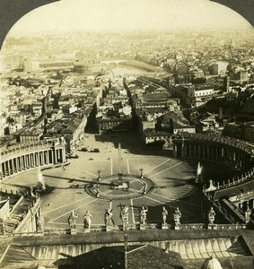 Italy Roma panorama from St Peter's Cathedral Old Stereoview Photo Kelley 1900