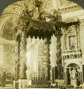 Italy Rome St Peter Cathedral Altar Old Stereoview Photo Kelley 1900