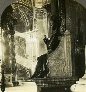 Italy Rome St Peter's Cathedral Statue Old Stereoview Photo Kelley 1900