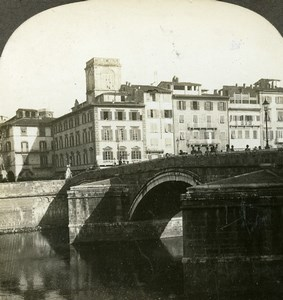 Italy Pisa Ponte di Mezzo and the Arno Old Stereoview Photo Kelley 1900