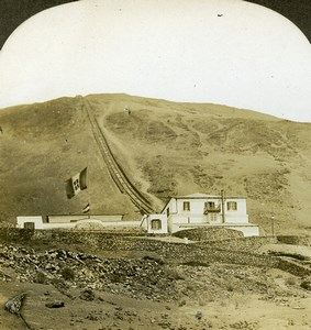 Italy Napoli Funicular Railway Vesuvius Volcano Old Stereoview Photo Kelley 1900