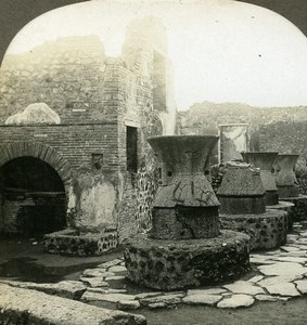 Italy Pompeii Pompei House of the Baker Old Stereoview Photo Kelley 1900