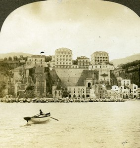 Italy Sorrento Panorama from the Sea Old Stereoview Photo Kelley 1900