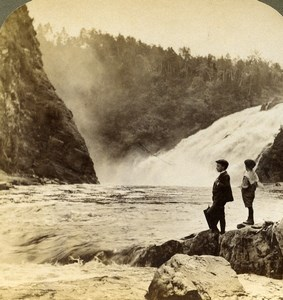 Canada Quebec Riviere du Loup Waterfalls Old Stereoview Photo Underwood 1902