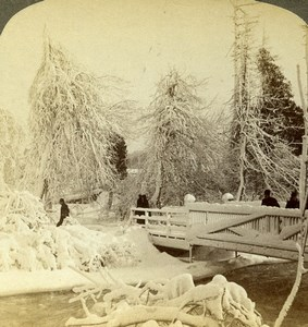 USA Niagara Luna Island Frozen Winter Scene Old Stereoview Photo Underwood 1893