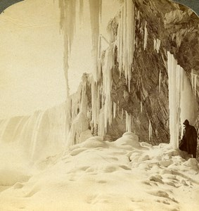 Canada Niagara Luna Island Frozen Winter Scene Stereoview Photo Underwood 1902