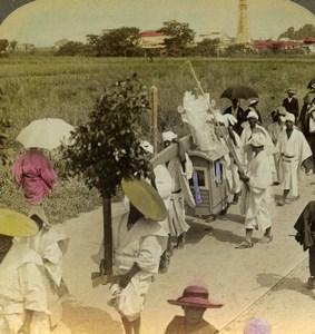 Japan Osaka Rich Buddhist Funeral Old Stereoview Photo Underwood 1904