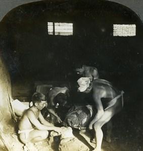 Japan Kyoto moulding process bronze industry Old Stereoview Photo Keystone 1904