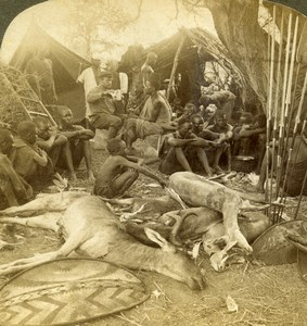 East Africa Hunters Camp Spears Hunting  Old Stereoview Photo Underwood 1909