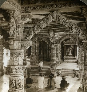 India Mount Abu Dilwara Temple Vimal Vasahi Old Stereoview Photo Underwood 1902
