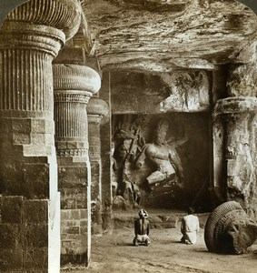 India Elephanta Caves temple of Shiva Old Stereoview Photo Underwood 1903