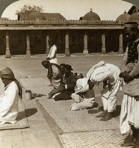 India Ahmedabad Mosque interior Prayers Old Stereoview Photo Underwood 1903