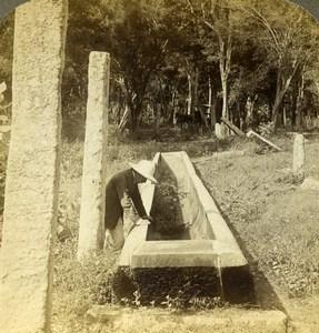 Ceylon Anuradhapura Stone Canoe Rice for Priests Stereoview Photo Underwood 1907