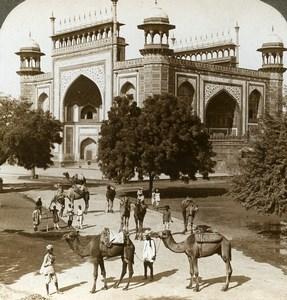 India Agra Gateway to Taj Mahal Camels Old Stereoview Photo Underwood 1903
