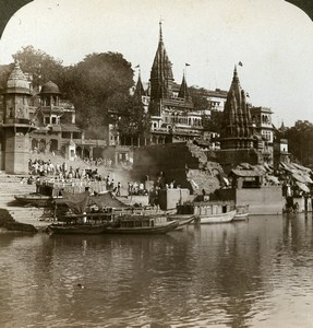 India Benares Temple along Ganges Ghat Old Stereoview Photo Underwood 1903