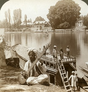 India Cashmere Boat party Jhelum river Sitar Old Stereoview Photo Underwood 1903