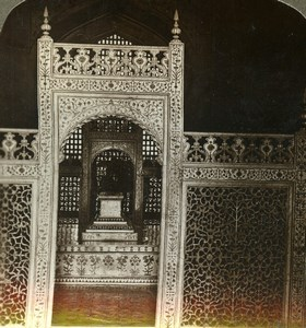 India Agra Taj Mahal Imperial Sarcophagus Old Stereoview Photo Underwood 1903