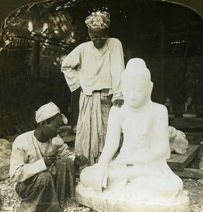 Burma Marble Sculptor Buddha Old Stereoview Photo HC White 1907