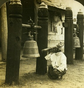 Burma Pagan Ringing Temple Bell Old Stereoview Photo HC White 1907