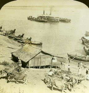 Burma Irrawaddy River Thayetmyo Steamship & Boats Stereoview Photo HC White 1907