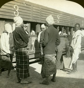 Burma Railway Station Third Class Train Carriage Stereoview Photo HC White 1907