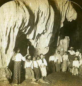 Burma Natives in Paingoo Caves Stalactites Old Stereoview Photo HC White 1907