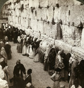 Palestine Jerusalem Wailing Wall Solomon Temple Stereoview Photo Underwood 1897