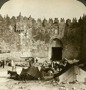 Palestine Israel Jerusalem Damascus Gate Old Stereoview Photo Underwood 1896