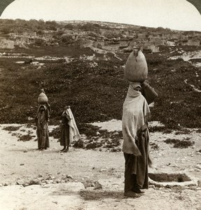 Palestine Emmaus Amwas Village Water Carrier Old Stereoview Photo Underwood 1900