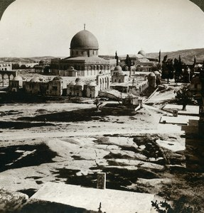 Palestine Jerusalem Dome of the Rock Old Stereoview Photo Underwood 1900