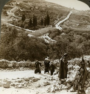 Palestine Jerusalem Road to Bethany Old Stereoview Photo Underwood 1900