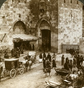 Palestine Jerusalem Jaffa Gate Old Stereoview Photo Underwood 1896
