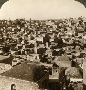 Palestine Jerusalem from the northern wall Old Stereoview Photo Underwood 1897