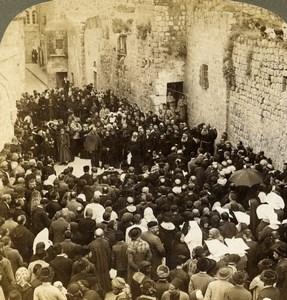 Palestine Jerusalem Via Dolorosa Pilgrims Old Stereoview Photo Underwood 1897