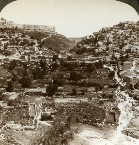 Palestine Jerusalem Siloam Valley of Kedron Old Stereoview Photo Underwood 1896