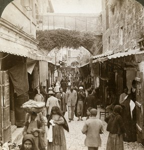 Palestine Jerusalem Christian Bazaar District Stereoview Photo Underwood 1900