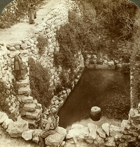 Palestine Jerusalem Pool of Siloam Old Stereoview Photo Underwood 1900