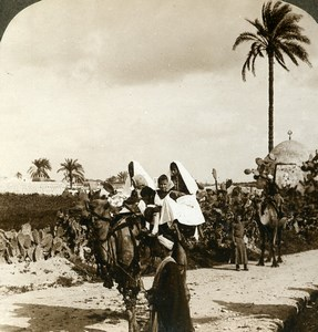 Palestine Syrians Travelers near Lod Lydda Camel Stereoview Photo Underwood 1900