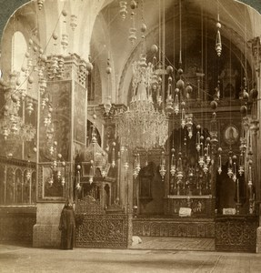 Palestine Jerusalem Armenian Church Interior Old Stereoview Photo Underwood 1897