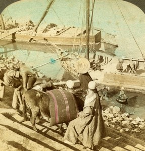 Egypt Boats along the Nile Old Stereoview Photo Underwood 1896