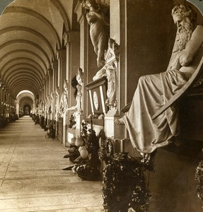 Italy Genoa Genova Corridor Campo Santo Statues Stereoview Photo Underwood 1900