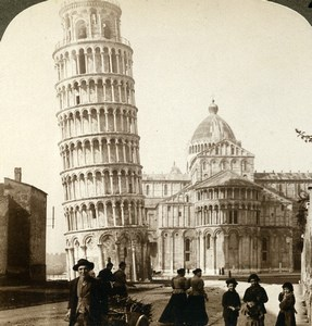 Italy Pisa Leaning Tower Cathedral Old Stereoview Photo Underwood 1900