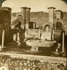 Italy Pompeii House of Marcus Lucretius Old Stereoview Photo Underwood 1900