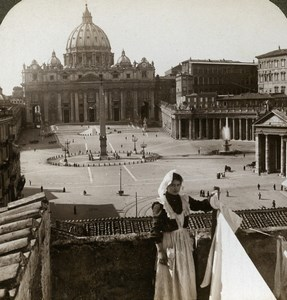 Italy Roma Vatican St. Peter's Basilica Old Stereoview Photo Underwood 1900