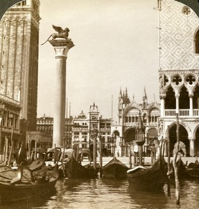 Italie Venise le Lion et Piazza San Marco Ancienne Photo Stereo Underwood 1900