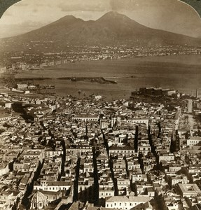 Italie Naples Panorama et le Vesuve Volcan Ancienne Photo Stereo Underwood 1900