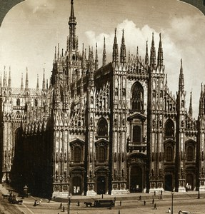 Italie Milan Cathedrale Ancienne Photo Stereo Underwood 1900