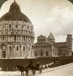 Italy Pisa Baptistery Cathedral Campanile Old Stereoview Photo Underwood 1900