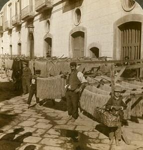 Italy Naples Napoli Pasta Macaroni drying Old Stereoview Photo Underwood 1900